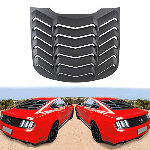 DXGTOZA Rear Window Louver Windshield Sun Shade Cover GT Lambo Style for Ford Mustang 2015 2016 2017 2018 2019 2020 2021 Custom Fit All Weather ABS, Matte Black