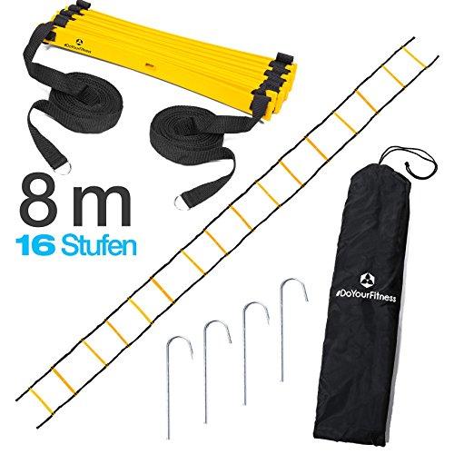 #DoYourFitness® Koordinationsleiter/Fitnessleiter - Länge 4m 6m 8m - Trainingsleiter (ENGL Agility Ladder) BZW. Konditionsleiter für Beweglichkeitsübungen/Schnelligkeitstraining 4m gelb/schwarz
