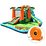 GOFLAME 7 in 1 Inflatable Water Slide, Jungle Theme Inflatable Bounce House with Two Slides, Jumping Area, Large Splash Pool, Water Cannon, Water Slide Pool Water Park for Kids (with 780W Air Blower)