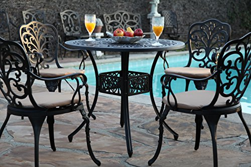 "GrandPatioFurniture.com Outdoor Cast Aluminium CBM-Patio 5 Piece Butterfly Dining Set SH213-SH045 - Cast Aluminium Out-Door Garden Patio 5 Piece Butterfly Dining Set SH213-SH045 COLOR : Antique Black Brown. Powder Coated Finish. ( Please see the Actual detailed Pictures. If you need more detail pictures please let us know OVER ALL TABLE DIMENSIONS : 36"" L x 36"" W x 29"" H. Table weight- 35 lbs. Some Assembly required. - patio-furniture, dining-sets-patio-funiture, patio - 51dP Za7FeL -"