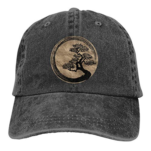 Zen Bonsai Tree in Enso Circle Comfort Hat Man's Women's Cowboy Hat Black