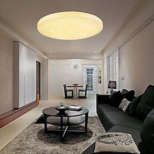 VINGO® 16W LED Deckenleuchte Warmweiß LED Starlight-Effekt Rund 2700K-3000K,Φ340*81 Kinderzimmer Deckenbeleuchtung