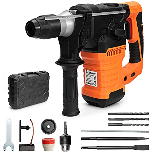 COSTWAY Rotary Hammer Drill, 1500W SDS Plus Electric Drills with 360° Rotating Handle, 4 Functions & Variable-Speed, Including 3 Drill Bits, Flat Chisel, Point Chisel