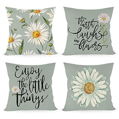 Joyshare Juego de 4 fundas de cojín cuadradas de 45 x 45 cm, con flores decorativas, funda de cojín para el sofá del salón, dormitorio, cojín de sofá con cremallera invisible