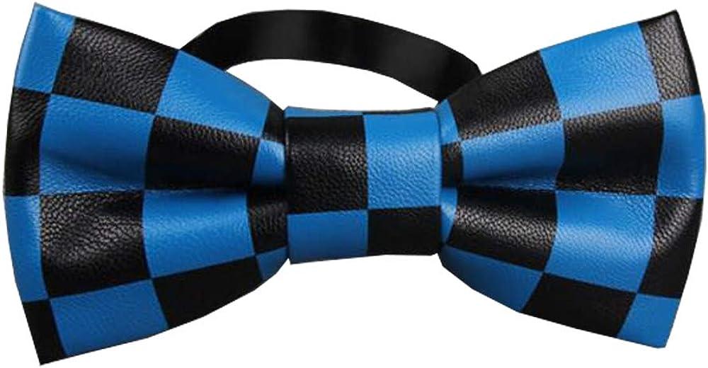 D&L Menswear Pre-Tied Black Blue Checkered Bow Tie Adjustable Neck Bowtie