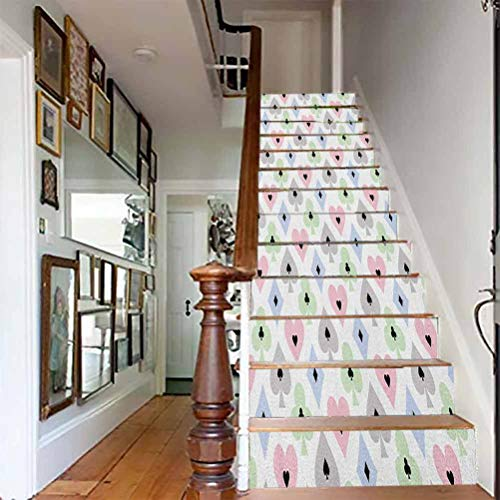 Stairs Self Adhesive Decoration Wall Sticker, Casino Cards Symbols Soft Colors Geometric Ornament Pattern, for Living Room, Hall, Kids Room Stair Decor, W39.3 x H7.08 Inch x13PCS