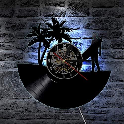 ZZLLL Reloj de Pared Hawaii Personalizado Surf Vinilo Disco LP Reloj de Pared Tabla de Surf Playa Personalizado Vintage Reloj Surfer Idea de Regalo