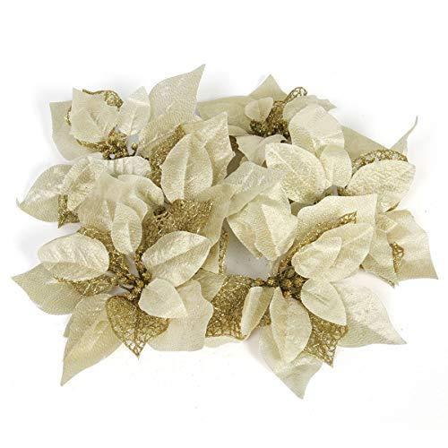 Funhoo 12 Stück Glitzer Künstliche Blumen Weihnachtsstern Deko Set, Weihnachten Girlande Christstern Weihnachtsdeko Weihnachtsbaum Anhänger Ornamente (Gold)