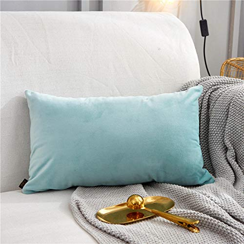 Nordic pillows Living room sofas Bedside pillows Chairs Office lumbar pillows Velvet pillowcases@Solid color - light blue rectangle_45x45cm (pillowcase)