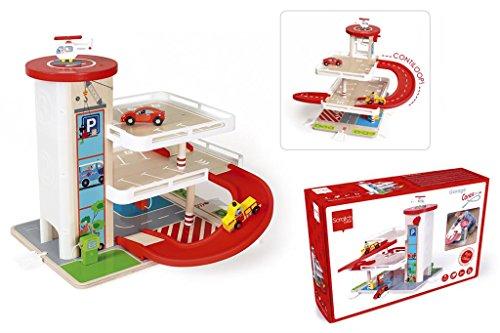 Scratch 6181085 Spielzeug Garage mit Zubehör, Parkhaus, Parkgarage, Autowerkstatt aus Holz, ab 3 Jahren