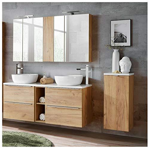 Naka24 Badmöbel Set Capri-B Eiche Gold 140 cm mit 2 Waschbecken LED Soft - Close (Waschtisch Spiegelschrank Unterschrank)