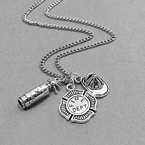 adonpshy Valentine's Day Wedding Anniversary Jewelry Unisex Fire Extinguisher Shape Pendant Chain Necklace Firefighter Jewelry Gift, Gift for Women Kids Child Necklace - Silver