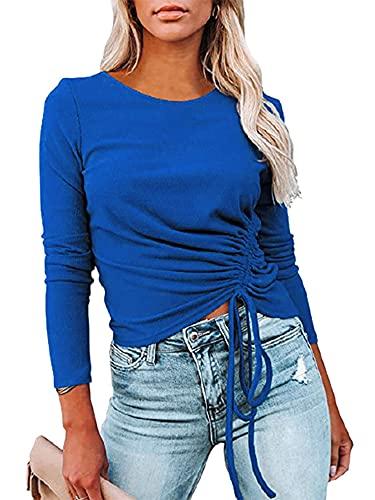 Charmlinda Blusa casual con cordón para mujer, cuello redondo, color sólido, manga larga, cierre de ajuste, para mujer, azul real, XXL