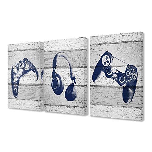 The Kids Room by Stupell Video-Gamer-Trio-Controller-Headset, blaue Grafiken auf Planken, gespannte Leinwand, Wandkunst, 3 Stück, je 16 x 24, mehrfarbig