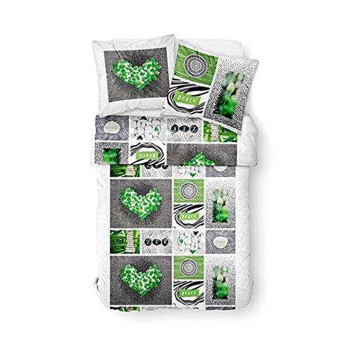 TODAY Enjoy Peace-Parure HC3 : Housse de Couette 220x240 + 2 Taies d'Oreiller 100% Coton, (57 Fils), Blanc, Vert, 220x240 cm