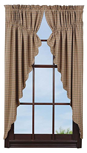 VHC Brands Millsboro Prairie Short Panel Scalloped Set of 2 63x36x18 Country Rustic Curtains, Tan