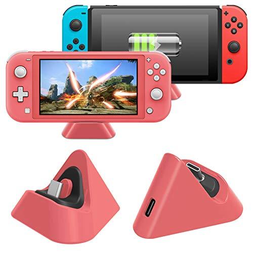 MENEEA Dock di Ricarica per Nintendo Switch Lite e Nintendo Switch, Stazione di Ricarica Compatta con Porta di Tipo C Compatibile (Corallo)