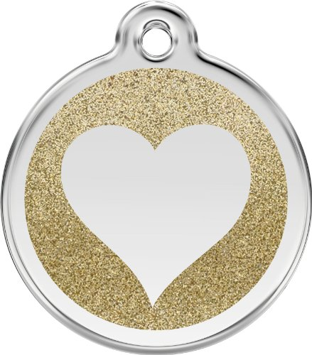 Red Dingo Stainless Steel & Glitter Enamel Heart Dog ID Tag (Gold, Small)