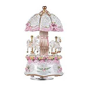 Music Box Carousel Color Change LED Luminous Light 3-Horse Rotating Windup Musical Gift Melody Castle in The Sky Artware…