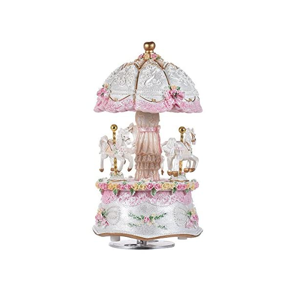 Music Box Carousel Color Change LED Luminous Light 3-Horse Rotating Windup Musical Gift Melody Castle in The Sky Artware… 3