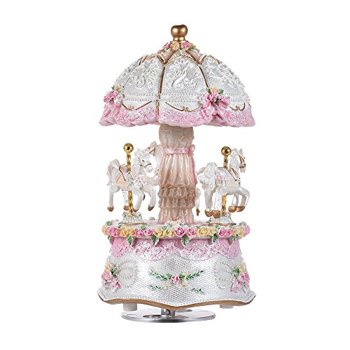 Music Box Carousel Color Change LED Luminous Light 3-Horse Rotating Windup Musical Gift Melody Castle in The Sky Artware Birthday Valentine Gift for Girls Baby Kids Daughter (with LED)