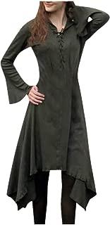 Funnygals - Women's Medieval Renaissance Gown Dress Halloween Evening Party Costume Gothic Dress Long Dress
