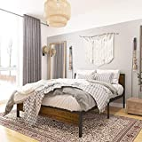 Weehom Queen Size Bed Frame with Wood Headboard Solid Wood Beds for Adults Strong Metal Slats Support Beds No Box Spring Needed Lock Design Brown