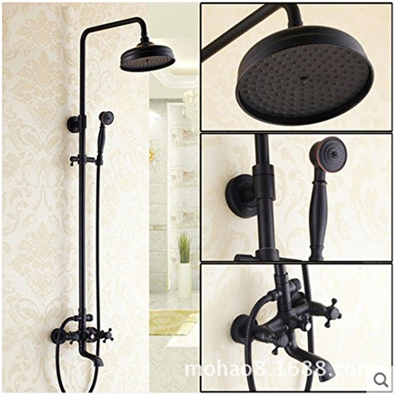 Maifeini Copper Shower Shower Set Black Antique European-Style Shower _ Can Lift Double-Bathroom