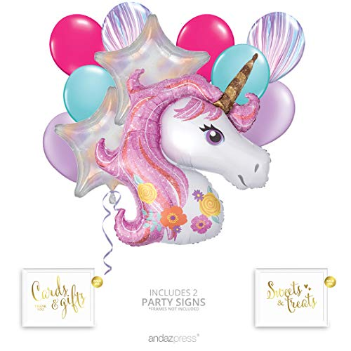 Andaz Press Magical Unicorn Balloon Bouquet Kit, Unicorn Balloon, Unicorn Party Supplies, Unicorn Party Decorations, Inflatable Foil Mylar and Latex Balloons, Unicorn Birthday or Baby Shower Party