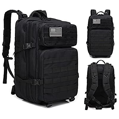 Large Military Tactical Backpack, 45L Army Assault Pack Molle Bug Out Bag Backpacks Rucksack Daypack with Tactical US Flag Patch Black for Outdoor Camping Hiking Trekking Hunting and Sports (Black)