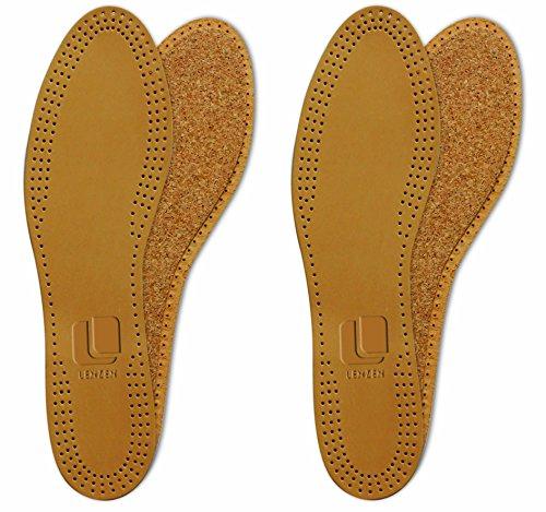 Lenzen 2 Paar Echtleder Einlegesohlen mit echtem Naturkork I Leder Schuheinlagen aus Kork in Größe 42