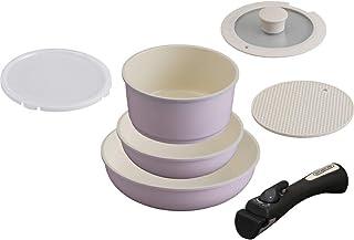 アイリスオーヤマ フライパン 鍋 6点 セット 26cm 20cm ih 対応 ふた セラミックカラーパン ピンク