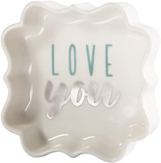 Pavilion - Love You - Teal & Silver - 3 Inch Mini Jewelry Dish with Gift Box