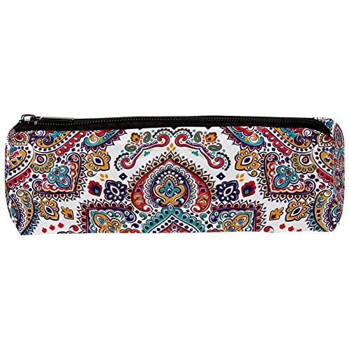 Estuche de gran capacidad para lápices, oficina, escuela, gran almacenamiento, henna Mandala Paisley bolsa de lápices con cremallera, bolsa de papelería, organizador multifuncional 19 x 7,5 x 3,8 cm