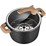 COOKER KING 5Qt Nonstick Stockpot with Detachable Steamer Insert, Deep Pot, Soup Pot,Granite Maifan Stone, Marble Coating & Induction Compatible Casserole, Silicone Handles & Lid, NO PFOA, NO TOXIC