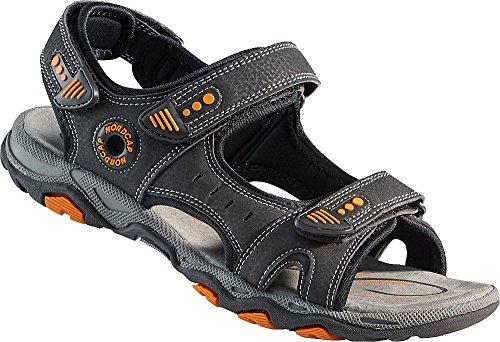 Nordcap Trekkingsandalen, Damen- und Herren-Sandalen, Wander- und Outdoor-Sandalen/mit regulierbaren Schnallen und Profilsohle für mehr Trittsicherheit (Größen: 37-46, Farbe: Grau/Orange)