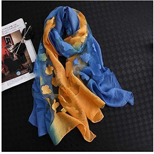 Bufanda Las Mujeres De Moda Cortan Las Flores Hollow Lace Gradient Bufanda De Seda Chales Y Envolturas De Primavera ToallaBeach J