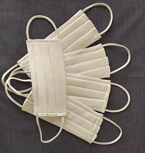 Mundschutz Maske Baumwolle -Mischware Weiß, Handgemachter Behelfsmaske, Waschbar bei 60°, 5 Stück