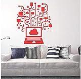 Juego de red Social de computadora, arte juvenil de Internet, pegatina de vinilo para pared, decoración de la habitación del hogar, Mural de PVC, 56 * 65 cm