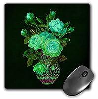 3drose 8x 8x 0.25インチマウスパッドライトのグリーンローズブーケグリーンの葉にヴィンテージ花瓶on aダークグリーンTextured背景(MP 54007_ 1)
