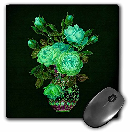 3drose 20,3 x 20,3 x 0,6 cm muismat lichtgroen met groene bladeren in Vintage Rose bouquet vaas op een donkere groene achtergrond (MP 54007 1)