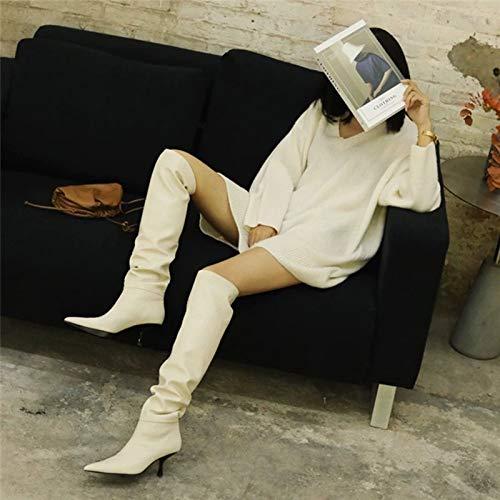 Bewinch Botas Altas para Mujer, Zapatos De Trabajo De Club De Fiesta De Gran Tamaño con Punta De Aguja De Moda para Mujer Sexy, Altura del Tacón 6,5 Cm,Blanco,EU45