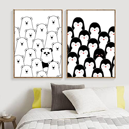 Nordic Canvas Posters And Prints Cartoon Polar Bear Penguin Wall Art Canvas Painting Wall Pictures Baby Kids Room Decor-20x30cmx2 No Framed