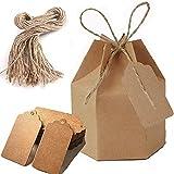 50 Cajas de Papel Hexagonales, Cajas de Regalo con Etiquetas y Cordel de Yute, Para Bodas, Fiestas de Cumpleaños