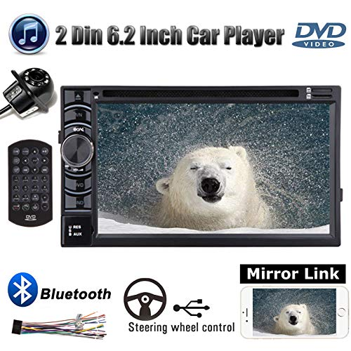 """Double Din Car Radio with Backup Camera for Chevy Silverado 1500 2004-2013,with Mirror Link Bluetooth CD/DVD Player AM/FM Receiver Aux Input Subwoofer Control 6.2""""Monitor Touchscreen"""