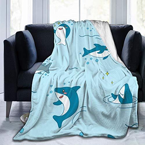Kawaii - Manta de franela de forro polar con diseño de tiburón y tiburones, cálida y esponjosa de microfibra para sofá de cama de 201 x 152 cm