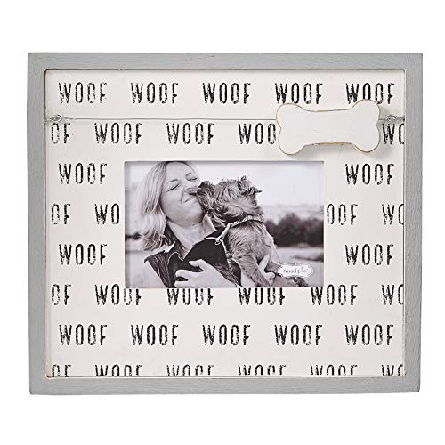 """Mud Pie Pet Lover Woof 4"""" x 6"""" Picture Frame, White, Black"""