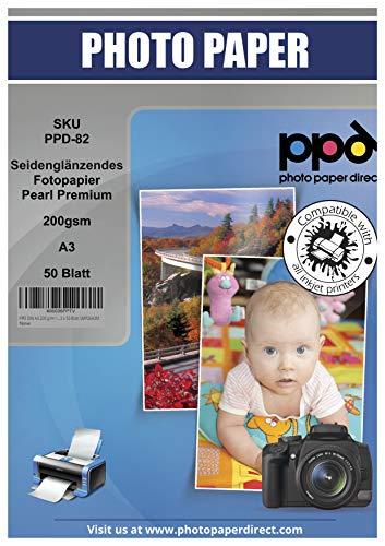 PPD 200 g/m² Inkjet Fotopapier In Profiqualität - Seidenglänzend Satin Mikroporöse Beschichtung Sofort Trocken und Wasserfest, DIN A3 x 50 Blatt PPD-82-50