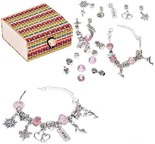 Queta 3Pcs Pulsera de plata Pulsera para niña Kit de fabricación de joyas para niña con cuentas perfectas Juego de regalo para niña 8-12 años