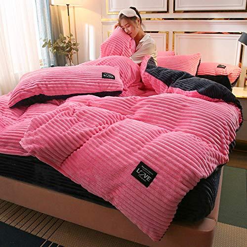 Shinon Edredón de Microfibra Reversible,Funda nórdica Reversible de Felpa de Peluche con Funda de Almohada Supersoft Fluffy Thermal Warm Soft Bear Bedding Set-Segundo_Cama de 1,2 m (3 Piezas)